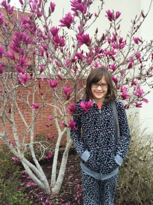My sweet girl, Julia, age 10 ... she still likes tulip trees best, just like her mother.