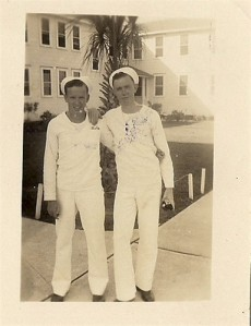 Red McGee (left) with a Navy pal during WWII