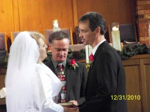 Jon says his vows to me ... second later, I promised to love him in sickness and health. The guests laughed with us, for we were all filled with joy over a wedding we thought might not ever happen.