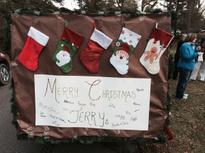 The back end of the trailer (and all around the sides) lined with stockings as a tribute to our family tradition.