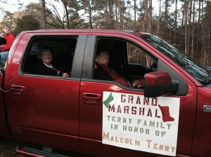 Mom and Papaw seated inside the warm truck.