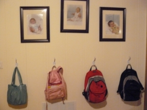 The backpack nook ... about as organized as I ever got!
