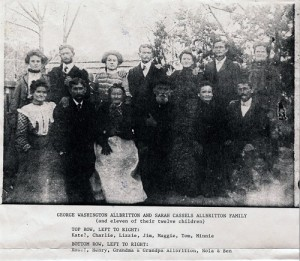 George Washington Allbritton and his wife Sarah with 11 of their 12 children.
