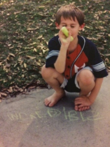 "Age 4 ... writing ""incredible"" on the driveway in chalk"