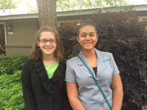 Julia and Maya, all dressed up for Teen Pact.