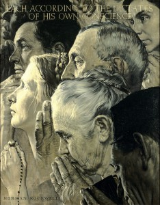 "Norman Rockwell (1894-1978), ""Freedom of Worship,"" 1943. Oil on canvas, 46″ x 35 1/2″. Story illustration for ""The Saturday Evening Post,"" February 27, 1943. Norman Rockwell Museum Collections. ©SEPS: Curtis Publishing, Indianapolis, IN."